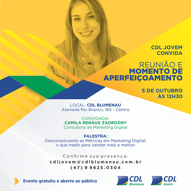 Camila Renaux realizará palestra na CDL Jovem Blumenau sobre marketing digital